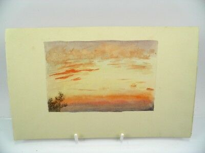 Antique early 20th century English School watercolour painting sunset study