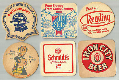 "18 Vintage All Different  3 1/2"" Beer Coasters Free USA Shipping"