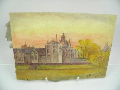 Antique early 20th century English School watercolour painting church landscape