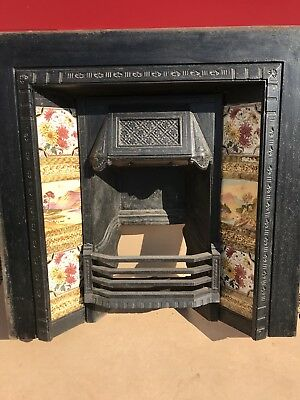 fireplace victorian tiled cast iron