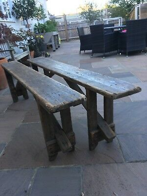 Vintage Folding School Benches c1900 - PAIR