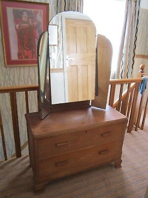 1930s art deco oak dressing table with drawers and mirror vintage