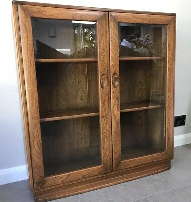 Ercol, Elm, Golden Dawn, Vintage, Glass Door, Book Case, Cabinet, Display Case