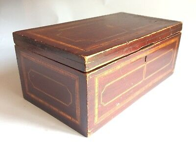 Antique Victorian 19thc Inlaid Solid Mahogany Box With Lift out Compartments