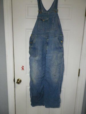 Vintage 10 Ounce Bib Overalls 38x28 Distressed Solid Blue
