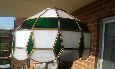 Vintage Stained Glass  Hanging Light Cover  Green & White
