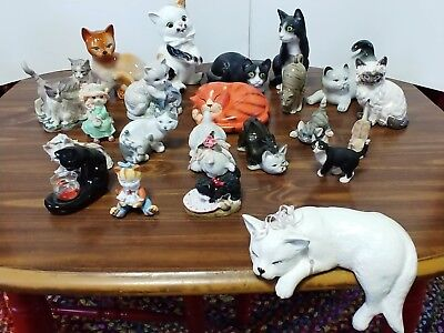Lot of 22 Cats Kitten Kitty Figurines Ceramic Porcelain Clay Resin