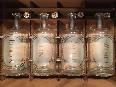 Etched Decanter Set (Bourbon, Gin, Scotch, Whiskey)