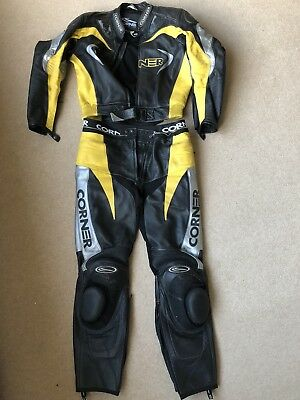 Corner 2 Piece Motorcycle Leathers Black / Yellow in Size 52