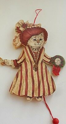 Cat in Victorian Dress Pull Toy String Christmas Ornament w/ Candle & Wreath