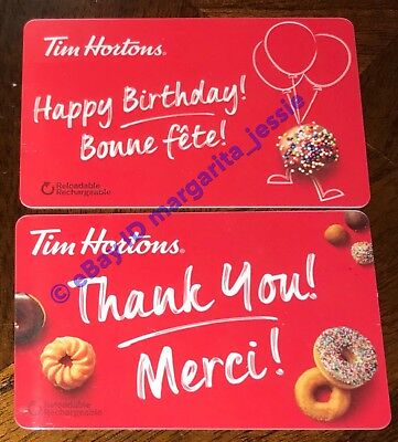 2 Tim Hortons 2018 Gift Card Birthday Thank You Merci No Value Fd 61812 Fd 61813