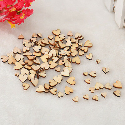 100 pcs Mini Small Mix Rustic Wooden Love Heart Wedding Table Scatter Decoration