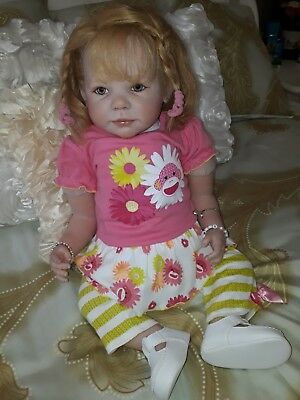 Reborn Toddler beautiful girl 3/4 arms full legs hand rooted hair artist made