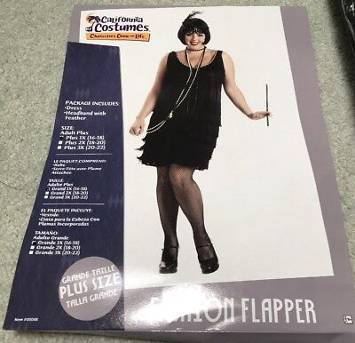 Fashion Flapper Adult Plus Size 1X California Costumes Dress and accessories