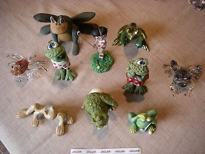 Lot of 9 frogs and 1 lady golfer figurines
