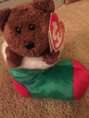 Ty Beanie Baby ~ STOCKINGS the Bear ~ New with TAGS ~ RETIRED