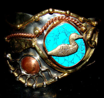 LOON TURQUOISE CUFF BRACELET Charm Added NEW