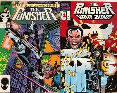 Punisher #1's (2 Marvel Comics) Unlimited Series 1 And War Zone 1 FN NO RESERVE!
