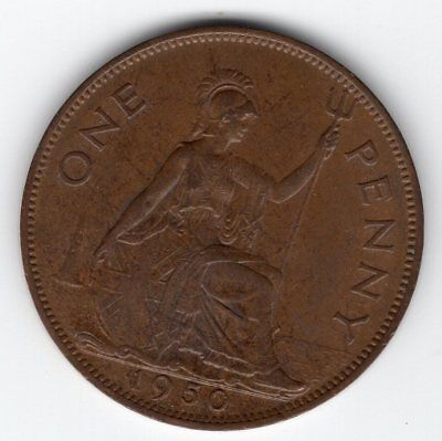 1950 UK Great Britain British One 1 Penny King George VI Coin EF