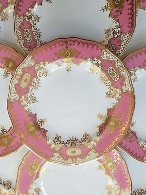 12 Antique Pink Copeland Spode Gilded and Jeweled Plates, gilt