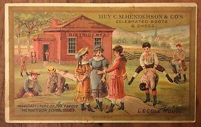 C.M. Henderson & Co. Boots and Shoes Victorian Trade Card, Rockford, Illinois