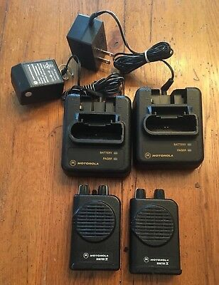 two (2) Motorola Minitor 4 IV with charger - Frequency's F1- 45.250 F2-- 48.750