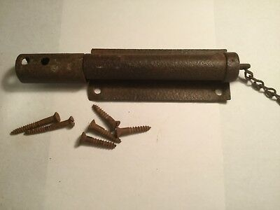 old barn door/gate spring loaded latch, pull chain, old screws included