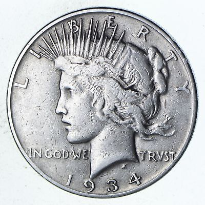 Decent - 1934 Peace Silver Dollar - Better Red Book Value *921
