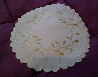 """Gorgeous Antique Silk Society Embroidered 10"""" Linen Topper"""