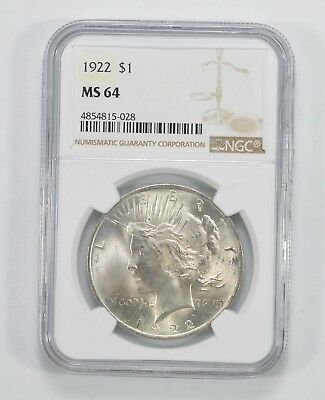 1922 Peace Silver Dollar - MS-64 - NGC Authenticated and Graded *578