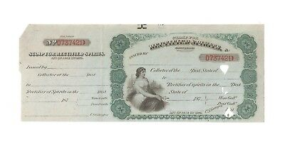 Stamp for Rectified Spirits  First Series 1872   US Internal Revenue Tax Liquor