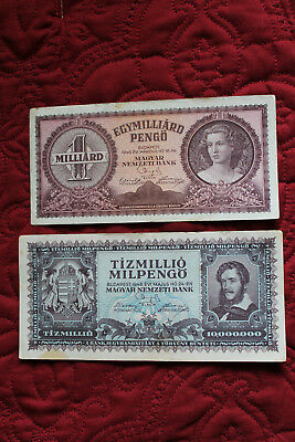Hungary Hungarian 1946 Lot Of 2 Banknotes 1 Milliard & 10,000 Pengo (Set 5)