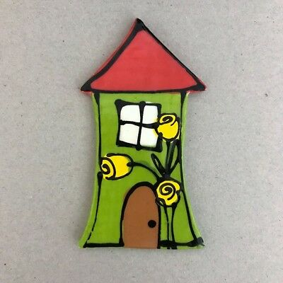 WHIMSICAL CERAMIC HOUSE - Green - 100x55mm ~ Mosaic Inserts, Art, Craft Supplies