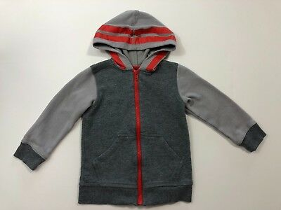 TEA COLLECTION Boys Gray/Orange Fleece Hoodie Sweater Size 3 3T EUC