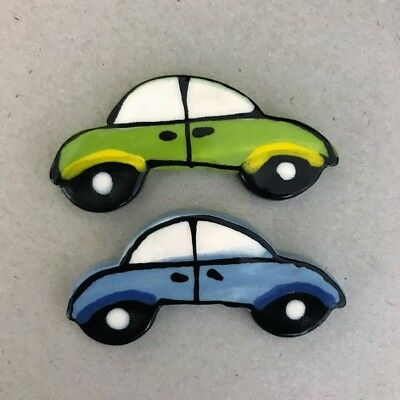 CERAMIC CARS x2 - Blue and Green ~ Mosaic Inserts, Art, Craft Supplies