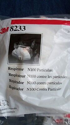 Lot Of 3  New 3M 8233 Lead Paint Removal Particulate Respirator N100 Mask