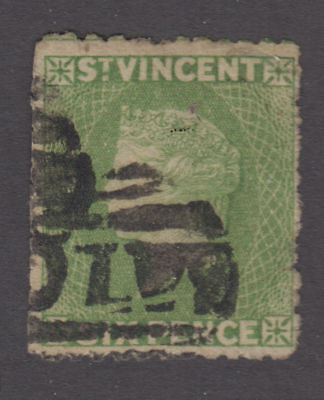 St. Vincent - 1880 6 Penny Yellow Green. Sc. #28, SG #30. Used