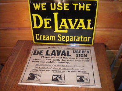 Vintage DE LAVAL CREAM SEPARATOR TIN METAL EMBOSSED SIGN / New / Old Stock