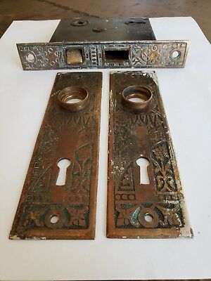 BRASS --  ORNATE  BACK PLATES  -- ANTIQUE  BRASS PAIR and Keyhole Lock