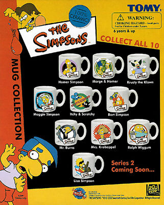 Simpsons Mugs By Tomy Complete Set Of 10Pc Set 1