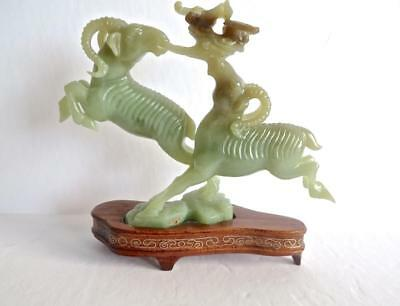 Qing Dynasty Chinese Carved Jade Group of Two Leaping Rams No Reserve