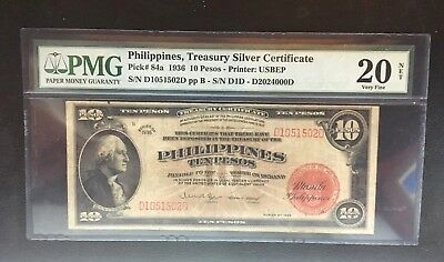 1936 Philippines 10 Pesos Pick 84a USBEP George Washington PMG20 In USA