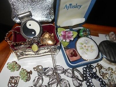 Mixed Lot Of Antique Vintage Costume +Sterling+ Gold, Gold Filled Jewelry