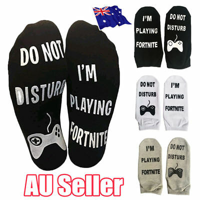 Novelty Funny Sport Socks DO NOT DISTURB/I'M PLAYING Fortnite Gamer Gift ON