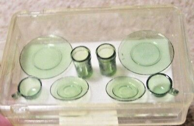 NEW Cute Miniature Set of Green Plastic Dishes for DOLL HOUSE
