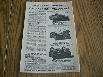 antique catalog automatic musical instruments mctammany organette melopeans