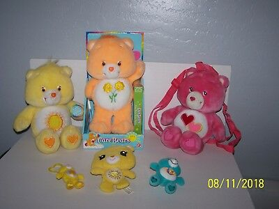 Lot Of 6 Plush Care Bears 2 NWT 1  BackPack 1 Sings 1 Comes With Tape 2 Keyclips