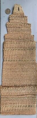 Antique KLAMATH TWINED WALL POCKET BASKET w YELLOW QUILL BANDS, c. 1900