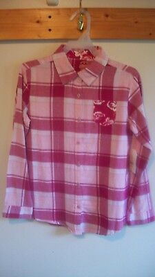 Faded Glory Girl's dressy Flannel shirt size M 7-8 pink & white Long sleeve NWT