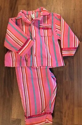 Baby GAP Pink Multi Color Stripe Long Sleeve Two Piece Pajamas 12-18 Months